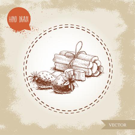 Hand getrokken schets stijl bos van rabarber stengels en aardbeien. Biologisch voedsel component vectorillustratie. Stock Illustratie