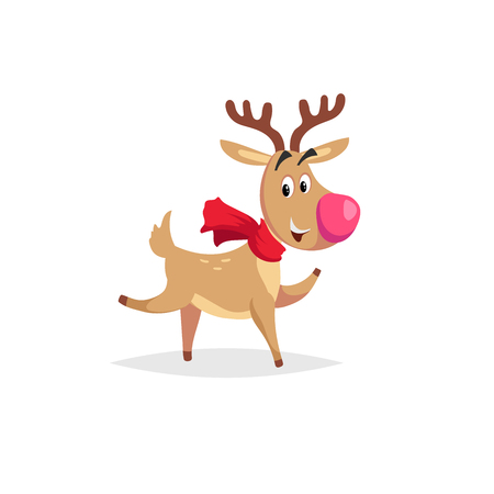 Cartoon dancing or running reindeer with scarf and big red nose. Illustration