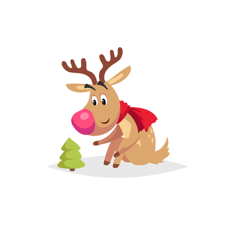 Cartoon cute reindeer with big red nose and scarf sitting and looking on little christmas tree. Illustration