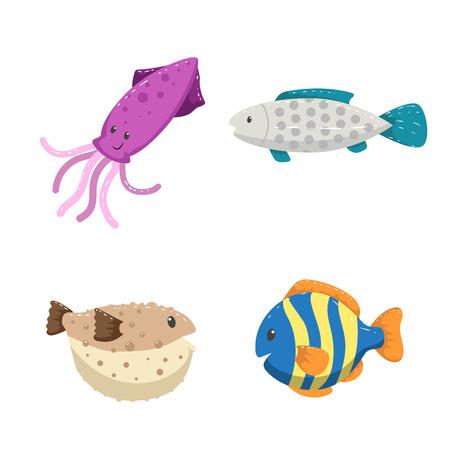 Dibujos animados de moda diseño diferentes mar y océano animales conjunto. Ilustración de vector aislado. Calamares, peces de color a rayas, pez globo y peces de puntos grises.