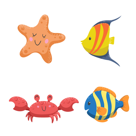 Set of tropical sea and ocean animals. Starfish, crab and  different color tropic fishes. Wildlife vector illustration icons.
