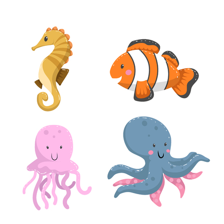 Set of tropical sea and ocean animals. Seahorse, clownfish, jellyfish, octopus. Wildlife vector illustration icons.