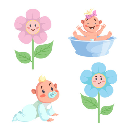 Cartoon trendy design babies sticker icons. Boy and girls faces flowers, washing baby in basin and crawl baby.