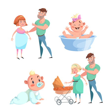 Cartoon trendy design happy family sticker icons. Washing baby in basin and crawl baby, pregnant woman with husband, mother and father with stroller. Illustration