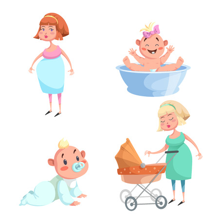 Cartoon trendy design mother and babies sticker icons. Washing girl in basin and crawl baby, pregnant woman, mother with stroller. Illustration