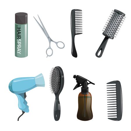 Hair beauty salon equipment set.