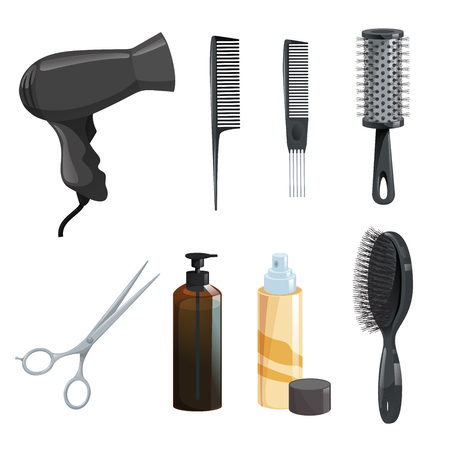 Hair beauty salon equipment set.