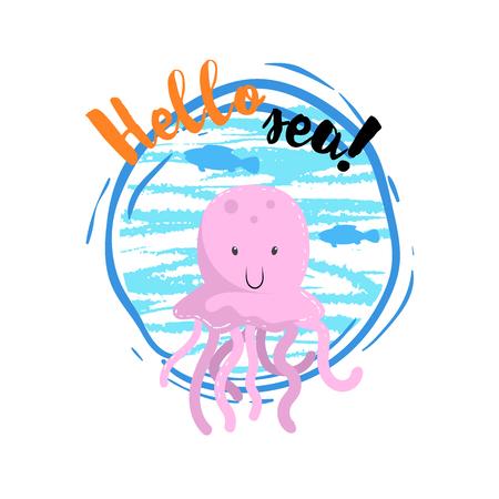 Hallo zee cartoon badge met trendy ontwerp cartoon vrolijke kwallen mascotte. Stock Illustratie