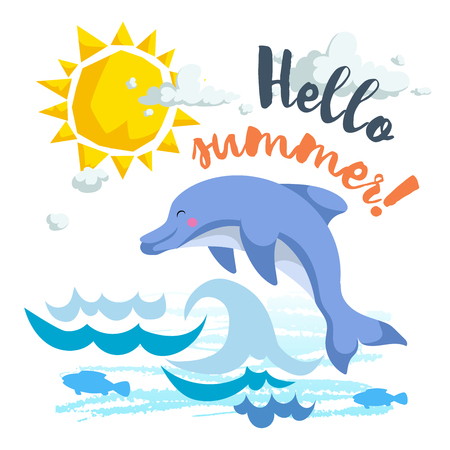 Hello summer cartoon poster with trendy design cartoon jumping dolphin.