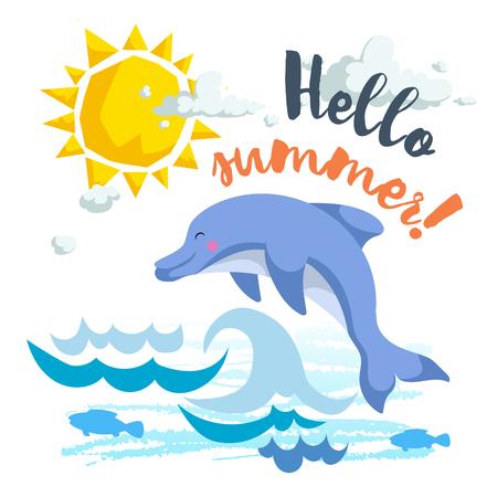 Hello summer cartoon poster with trendy design cartoon jumping dolphin.