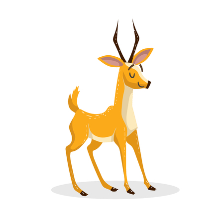 Cartoon trendy design african antelope. Wildlife and zoo vector illustration. Cheerful gazelle.