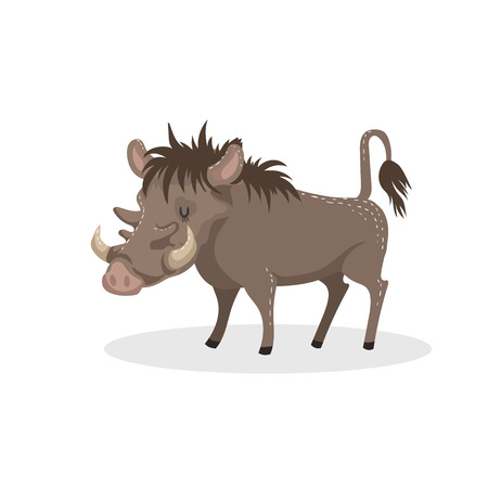 Cartoon trendy design african pig warthog. Wildlife and zoo vector illustration.