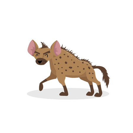 Cartoon trendy design walking hyena. African wildlife animal isolated on white background. Vector  illustration.