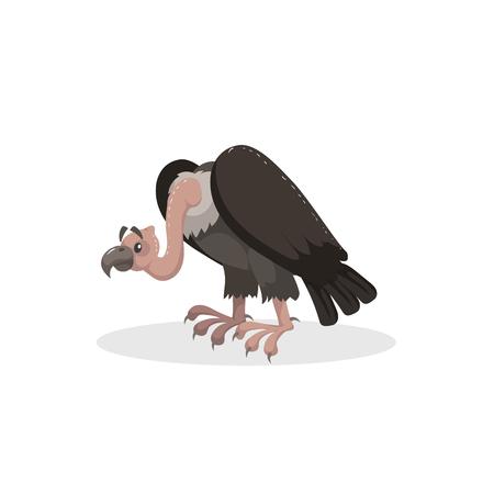 Buitre cómico de diseño de moda de dibujos animados. Animal americano Icono de ilustración de vector de vida silvestre y zoológico.