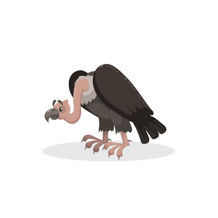Cartoon trendy design comic vulture. American animal. Wildlife and zoo vector illustration icon. Illustration
