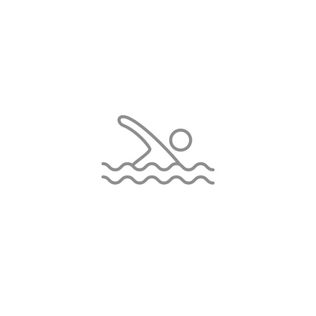 Swimming man line thin simple icon. Sport, vacation and beach and pool symbol isolated on white background. Ilustração