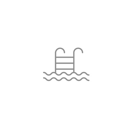 Pool with stairs and waves line thin simple icon. Sport, vacation, beach and pool symbol isolated on white background.