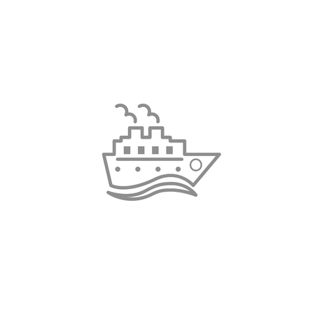 Cruise ship with waves line thin simple icon. Trip, vacation, travel and cargo symbol isolated on white background. Çizim