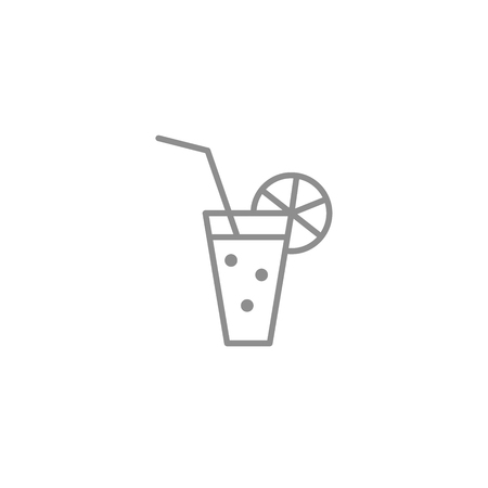 Thin line icon of glass drink with bubbles and straw. Alcohol and fresh beverages symbol. Vector illustration.