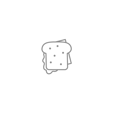 Sandwich with bacon and cheese line icon. American and international fast food symbol. Vector illustration isolated on white background.  イラスト・ベクター素材