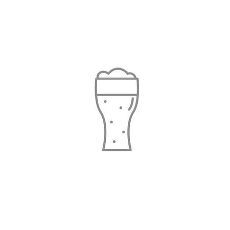 Beerglass outline thin icon. Alcohol drinks and national holidays symbol. Vector iilustration.