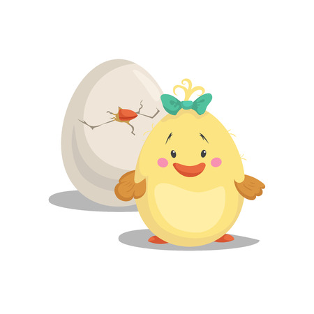Chicken new born girl with green bow staying front hatched egg. Cartoon flat trendy design spring and new born baby vector illustration.
