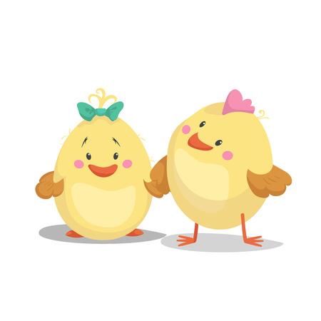 Kip nieuw - geboren jongen en meisjeskuiken. Lente van het beeldverhaal de vlakke in ontwerp en nieuw - geboren baby vectorillustratie.
