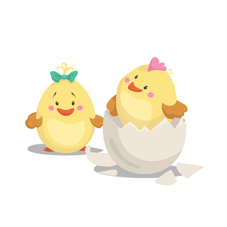 Kip nieuw - geboren jongen met kam in uitgebroed ei en meisjeskuiken met groene boog. Lente van het beeldverhaal de vlakke in ontwerp en nieuw - geboren baby vectorillustratie. Stock Illustratie
