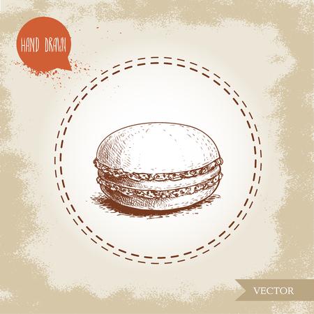 ヴィンテージ古い背景にシングルマカロンクッキー。おいしいメレンゲベースのフレンチペストリー甘い手描きスケッチスタイル詳細ベクトルイラ