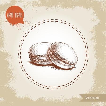 ヴィンテージ古い背景にマカロンクッキーの山。おいしいメレンゲベースのフレンチペストリー甘い手描きスケッチスタイル詳細ベクトルイラスト