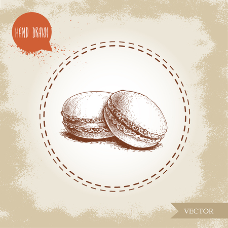 Pile of macaroon cookies on vintage old background. Delicious meringue based french pastry sweet hand drawn sketch style detailed vector illustration.  イラスト・ベクター素材