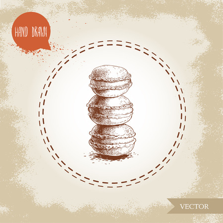 Single pile of macaroon cookies on vintage old background. Delicious meringue based french pastry sweet hand drawn sketch style detailed vector illustration.