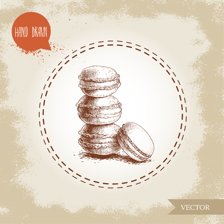 Pile of macaroon cookies on vintage old background. Delicious meringue based french pastry sweet hand drawn sketch style detailed vector illustration. Illustration
