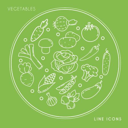 녹색 배경에 고립 된 동그라미에서 라인 흰색 야채 아이콘의 집합입니다. 농장 신선하고 건강한 음식 벡터 일러스트 레이 션. 일러스트