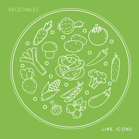 Set of line white vegetable icons in circle isolated on green background. Farm fresh and healthy food vector illustration.