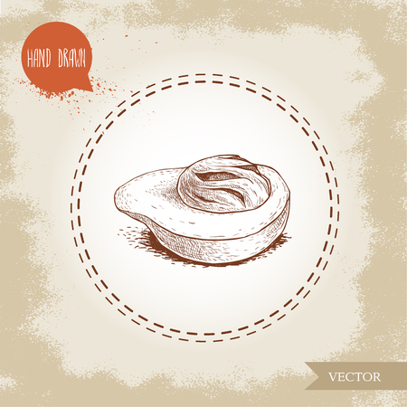 Hand drawn sketch style fresh nutmeg mace fruit spice and condiment vector illustration isolated on old background flavor and oriental medicine picture.