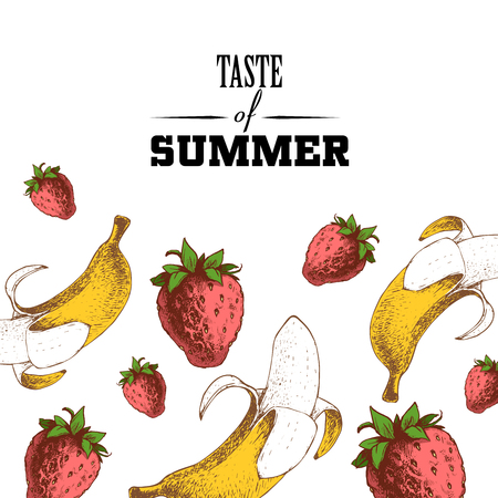 Taste of summer poster design template. Hand drawn sketch colorful strawberries and bananas.  Vector illustration for party banners and restaurant menu.