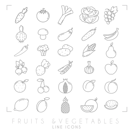 Trendy simple thin line fruits and vegetables icons big set. Healthy eco, tropic vector illustrations.