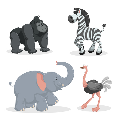 Cartoon trendy style african animals set. African elephant, gorilla monkey, zebra and ostrich. Closed eyes and cheerful mascots. Vector wildlife illustrations.