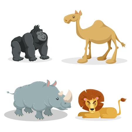 Cartoon trendy stijl Afrikaanse dieren set. Gorilla aap, leeuw, dromedaris kameel, rhiniceros. Gesloten ogen en vrolijke mascottes. Dieren in het wild vectorillustraties. Stock Illustratie
