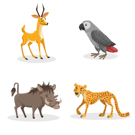 Cartoon trendy style african animals set. Pig warthog, grey parrot, cheetah and antelope gazelle. Closed eyes and cheerful mascots. Vector wildlife illustrations.