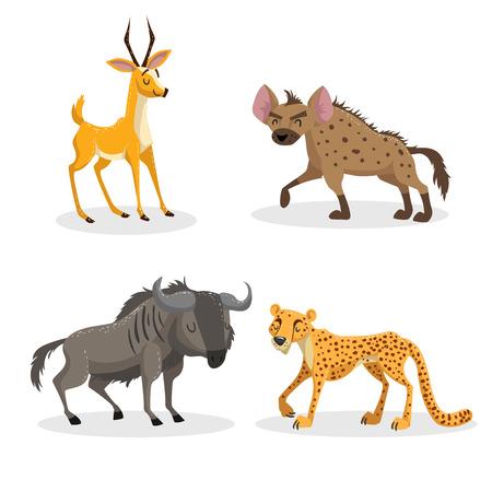 Cartoon trendy stijl Afrikaanse dieren set. Hyena, gnoe, cheetah en antilope gazelle. Gesloten ogen en vrolijke mascottes. Dieren in het wild vectorillustraties. Stock Illustratie