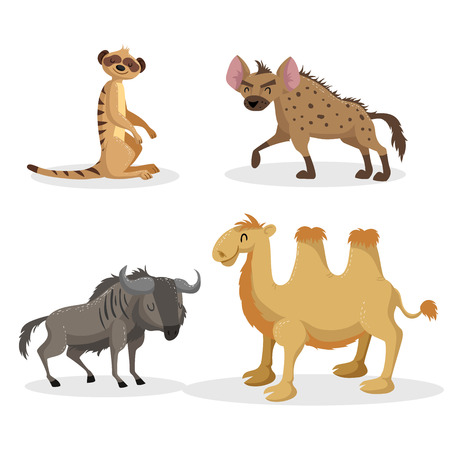 Cartoon trendy style african animals set. Hyena, wildebeest, meerkat and bactrian camel . Closed eyes and cheerful mascots. Vector wildlife illustrations. Illustration