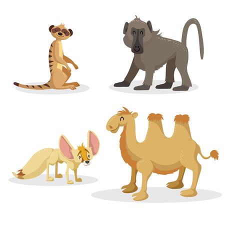 Cartoon trendy stijl Afrikaanse dieren set. Bavianenaap, fennekvos, meerkat en Bactrische kameel. Gesloten ogen en vrolijke mascottes. Vector dieren in het wild en dierentuin illustraties.