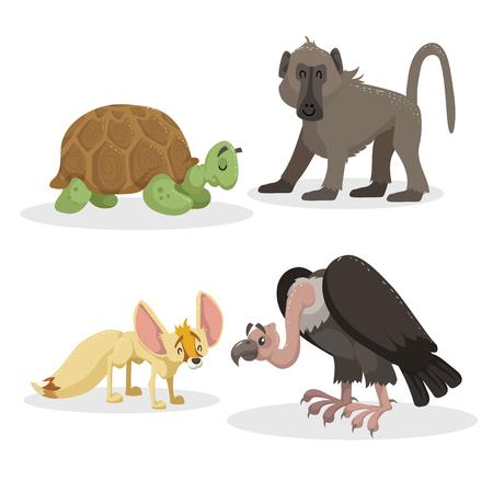 Cartoon trendy stijl Afrikaanse dieren set. Bavianenaap, fennec vos, gier en Afrikaanse schildpad. Gesloten ogen en vrolijke mascottes. Vector dieren in het wild en dierentuin illustraties.