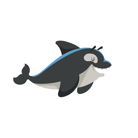 Cartoon trendy design smiling killer whale mascot. Sea and ocean icon vector illustration. Cheerful and closed eyes animal. Illustration