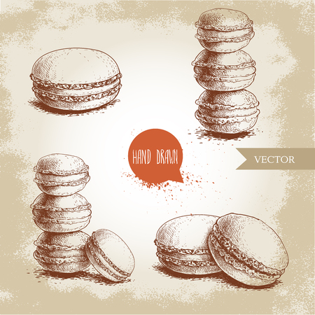 Hand drawn sketch style french pastry macarons set. Collection of sweet goods for menu design, restaurants and shops. Vector illustrations.