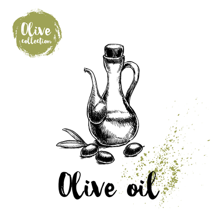 Bottle with olive oil and olives and leaves. Food and cosmetic vector old looking illustration. Ideal for menu designs, shop and market flyers. Иллюстрация