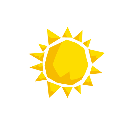 Cartoon trendy design sun icon. Summer and weather vector symbol. 向量圖像