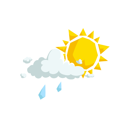 Cartoon trendy design fluffy clouds with light rain and sun  icon. Summer and weather vector symbol. Foto de archivo - 96175829